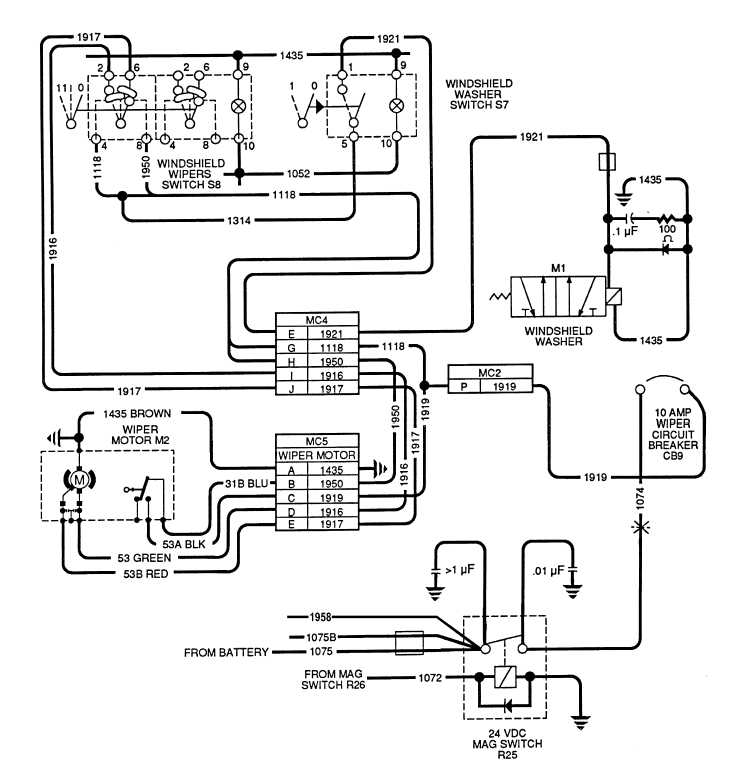 Figure 2-37. Windshield Washer And Wiper Wiring Schematic