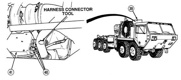 wire harness connectors  40  on ecm